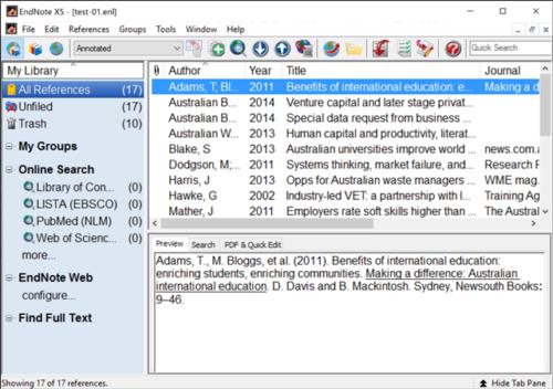 Endnote database