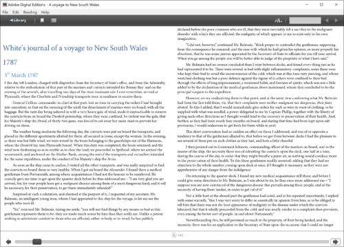 What are ebooks? Image of a double page spread of A Voyage to New South Wales in Adobe Digital Editions