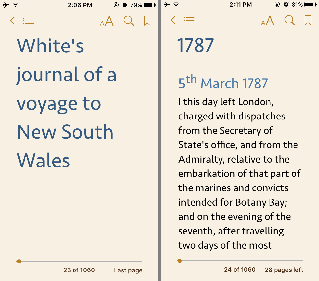 EPUB conversion: Screen capture of an EPUB ebook text on an iPhone 5 screen.