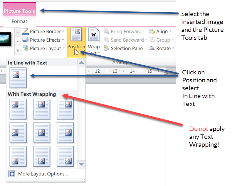 Formatting Microsoft Word documents - insert an image in line with text
