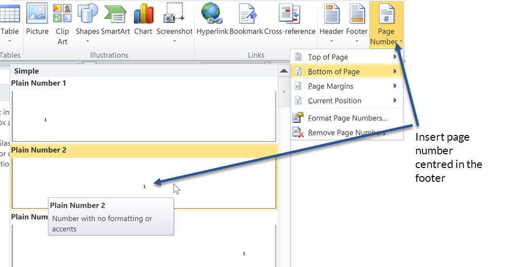 Formatting Microsoft Word documents - insert page number