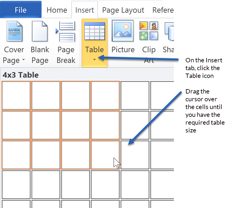 Formatting Microsoft Word documents - insert a table