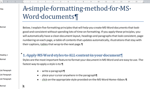 Formatting Microsoft Word documents - use styles